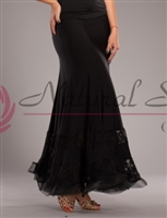 Style NS Lace Banded Black Ballroom Skirt