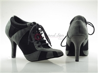 Style NS Tango Sneaker Grey Suede and Black Net | Blue Moon Ballroom Dance Supply
