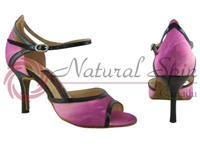 Style NS Florence Rose Stripe Fabric & Black Patent