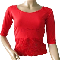 Style NS L08001A Red Fitted Lace Midriff LS Top