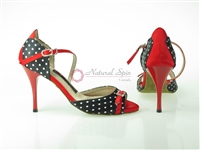Style NS LA White Dot Black Satin & Red