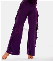 Style NS LP04 Purple Side Ruffle Pant