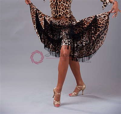 Style NS LS37 Fringed Leopard Skirt | Blue Moon Ballroom Dance Supply