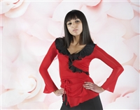 Style NS LTL30  Red with Black Ruffle LS Top