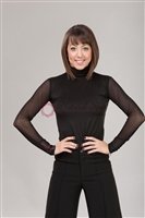 Style NS LTL51b Black High Neck Sheer LS Top