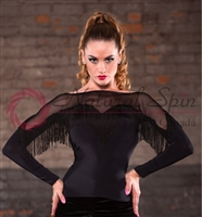 Style NS LTL77 Black Sheer with Fringe LS Top