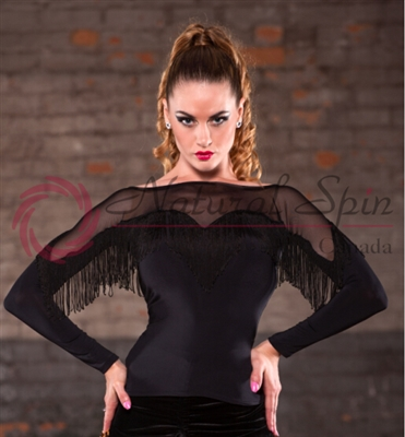 Style NS LTL77 Black Sheer with Fringe LS Top - Dancewear | Blue Moon Ballroom Dance Supply