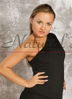 Style NS M019T Black One Shoulder LS Top