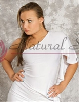 Style NS M019T White One Shoulder LS Top