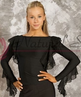 Style NS M024T Black Boat Neck Ruffled LS Top