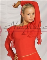 Style NS M024T Red Boat Neck Ruffled LS Top