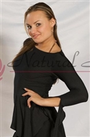 Style NS M043T Black Waist Detail LS Top - Dancewear | Blue Moon Ballroom Dance Supply