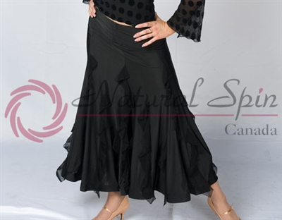 Style NS Black Ruffled Ballroom Skirt
