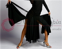 Style NS Split Panel Black Ballroom Skirt - Women's Dancewear | Blue Moon Ballroom Dance Supply