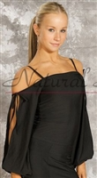 Style NS M0807T Black Open Tie Sleeve LS Top - Dancewear | Blue Moon Ballroom Dance Supply