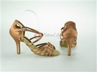 Style NS Montreal Dark Tan Satin Open Toe Shoe