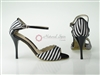 Style NS Safari Black & White Stripe Open Toe Shoe