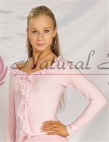 Style NS T21 Lt Pink Ruffle Front LS Top