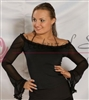 Style NS T28 Medium Black Sheer Sleeve LS Top - Dancewear on Sale | Blue Moon Ballroom Dance Supply