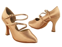 Style PP201 Tan Satin Vegan - Ladies Dance Shoes | Blue Moon Ballroom Dance Supply