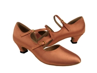 Style PP201 Tan Satin Vegan Cuban Heel