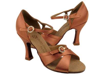 Style PP204 Tan Satin - Ladies Dance Shoes | Blue Moon Ballroom Dance Supply