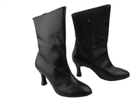 Style PP205A Black Leather Ankle Boot