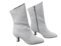 Style PP205A White Leather Ankle Boot