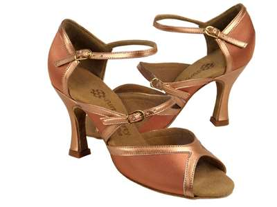 Style PP207 Tan Satin & Copper Nude Trim - Ladies Dance Shoes | Blue Moon Ballroom Dance Supply