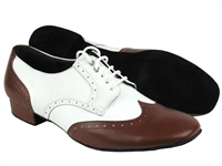 Style PP301 Dark Tan Leather & White Leather - Women's Dance Shoes | Blue Moon Ballroom Dance Supply