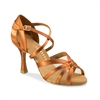 Rummos R368 Dark Tan Satin Latin Shoe - Women's Dance Shoes | Blue Moon Ballroom Dance Supply