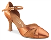 Rummos R405 Dark Tan Satin Glitter Latin Shoe - Women's Dance Shoes