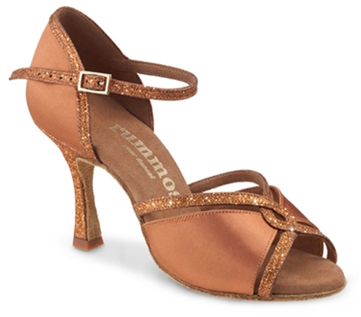 Rummos R550 Dark Tan Satin Glitter Latin Shoe - Women's Dance Shoes | Blue Moon Ballroom Dance Supply 