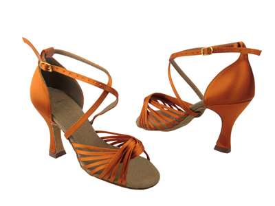 Style S1001 Orange Tan Satin - Ladies Dance Shoes | Blue Moon Ballroom Dance Supply