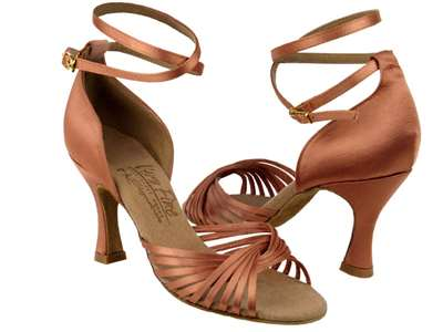 Style S1001 Tan Satin - Ladies Dance Shoes | Blue Moon Ballroom Dance Supply