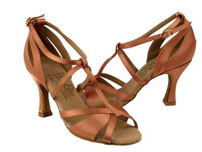 Style S1002 Tan Satin - Ladies Dance Shoes | Blue Moon Ballroom Dance Supply