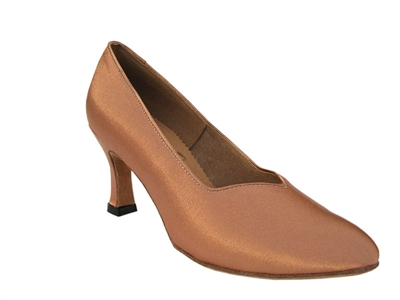 Style S9106 Tan Satin - Ladies Dance Shoes | Blue Moon Ballroom Dance Supply