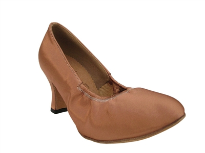 Style S9107 Tan Satin - Ladies Dance Shoes | Blue Moon Ballroom Dance Supply