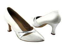 Style S9171 White Satin & Silver Trim - Ladies Dance Shoes | Blue Moon Ballroom Dance Supply