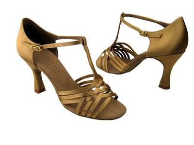 Style S92304 Tan Satin - Ladies Dance Shoes | Blue Moon Ballroom Dance Supply