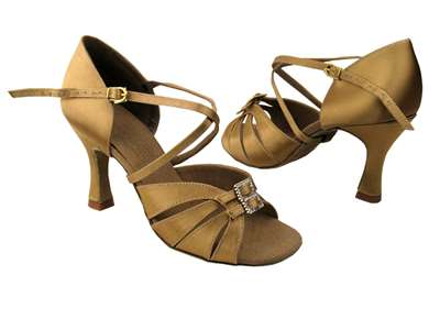Style S92307 Tan Satin - Ladies Dance Shoes | Blue Moon Ballroom Dance Supply