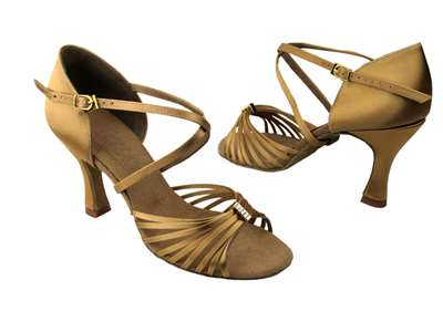 Style S92308 Tan Satin - Ladies Dance Shoes | Blue Moon Ballroom Dance Supply