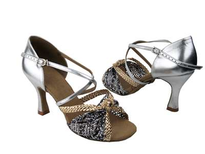 Style S92309 Gold & Silver Braid - Ladies Dance Shoes | Blue Moon Ballroom Dance Supply