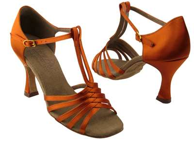 Style S92319 Orange Tan Satin - Ladies Dance Shoes | Blue Moon Ballroom Dance Supply