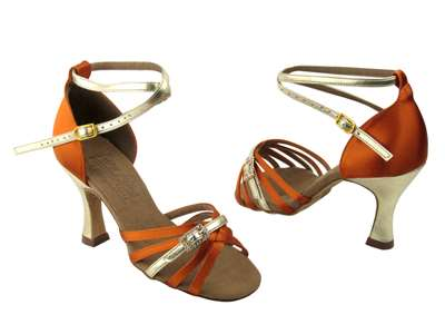 Style S92327 Orange Tan Satin & Gold Trim - Ladies Dance Shoes | Blue Moon Ballroom Dance Supply