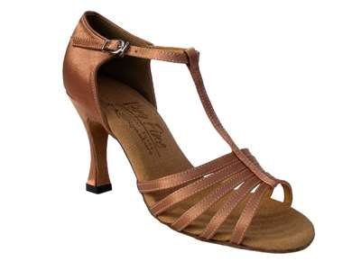 Style S9273 Tan Satin - Ladies Dance Shoes | Blue Moon Ballroom Dance Supply