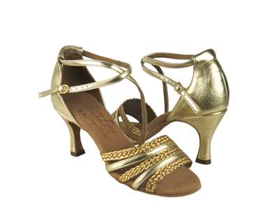 Style S9278 Gold Leather & Gold Braid - Ladies Dance Shoes | Blue Moon Ballroom Dance Supply