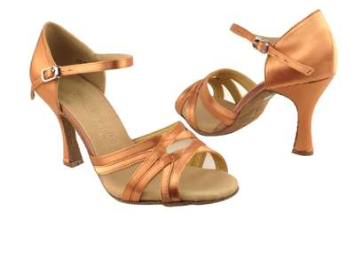 Style SERA1398 Tan Satin & Flesh Mesh - Ladies Dance Shoes | Blue Moon Ballroom Dance Supply
