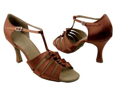 Style SERA1672 Dark Tan Satin - Ladies Dance Shoes | Blue Moon Ballroom Dance Supply