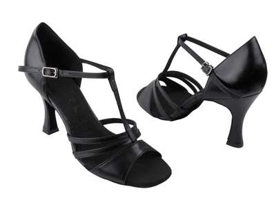 Style SERA1683 Black Leather - Ladies Dance Shoes | Blue Moon Ballroom Dance Supply